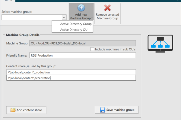 It's now possible to configure multiple content shares for one machine group, also support for machine groups based on Active Directory OU's have been added and you can provide friendly names for machine groups