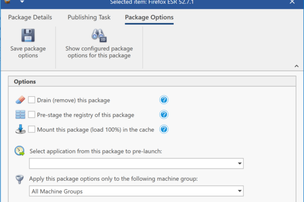 App-V Package Options